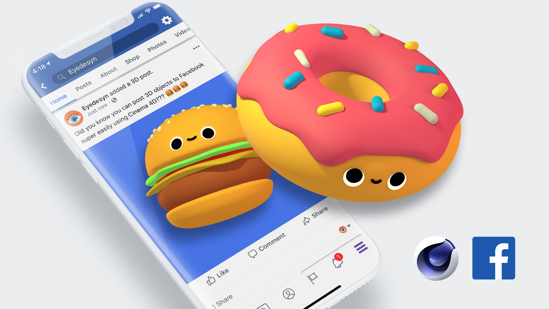 How to Post 3D Objects to Facebook Using Cinema 4D | eyedesyn
